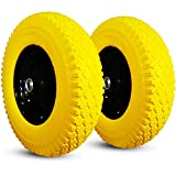 HORSESHOE Two New Yellow 16' T167 Cross 4.80/4.00-8' Flat Free Wheelbarrow/Cart Universal Tires w/Steel Rim, Bore φ5/8' & φ3/4' Hub 3-6'