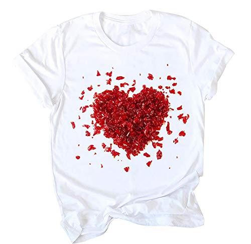 Mujers T-Shirts Blanco Impresión de Amor T Shirts Love Inspire Letra Imprimir Gráfico de Corazón Damas Camisetas de Manga Corta Blanco Casual tee Tops de San Valentín para Mujer
