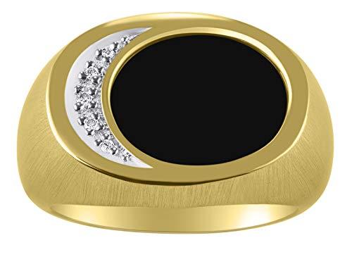Anillo de oro amarillo sólido de 14 quilates con ónix negro y diamante Onyx natural corte especial para este anillo.