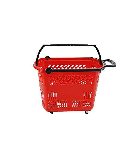 SHUNFA Cesta de Compra con 4 Ruedas Color Rojo 50x35x36cm
