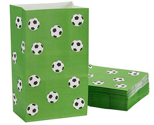 Juvaale Bolsas de golosinas para fiestas de fútbol (paquete de 36) - Bolsas de papel para fiestas de cumpleaños para niños - Diseño de fútbol, 5.1 x 8.7 x 3.2 pulgadas