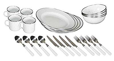 Stansport Enamel Camping Tableware Set-24 Pieces-White with Blue Specs