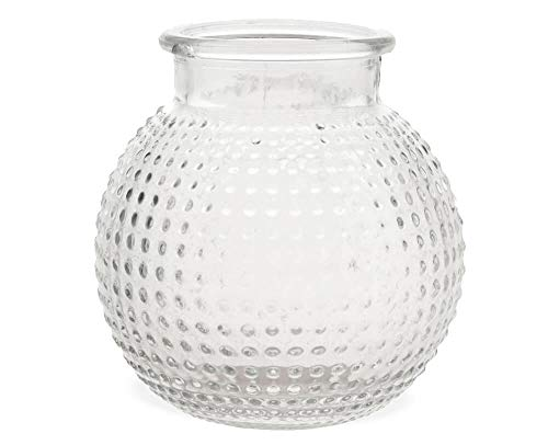 Matches21 Vaas Glazen buikig noppen patroon Decoratieve glazen vazen bloemenvazen tafelvazen Sandra Rich 1 STK - 2 maten 10 cm.