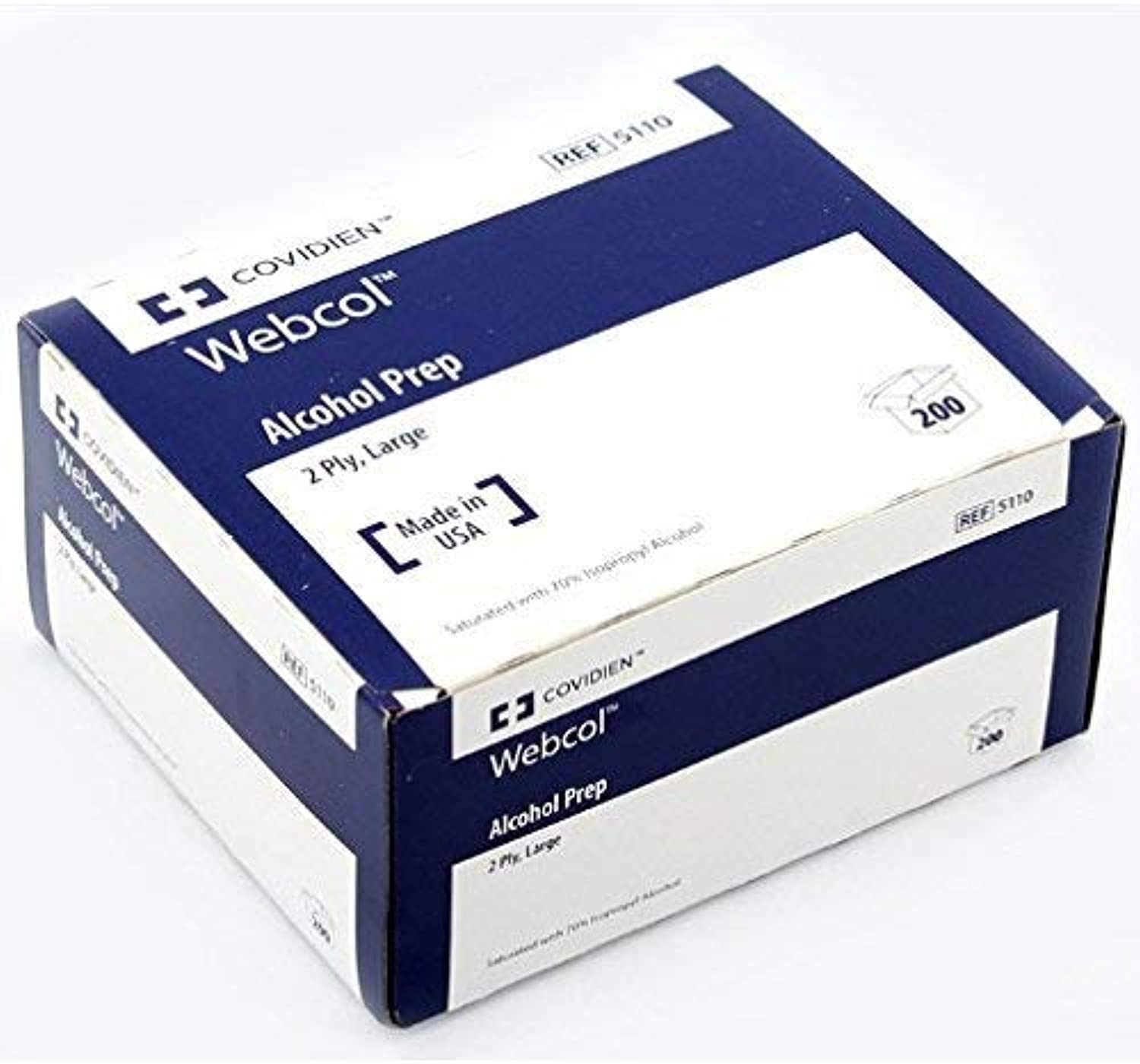 Kendall 5110 Webcol Premium Alcohol Prep, Sterile, 2 Ply, Large (20 Boxes of 200)