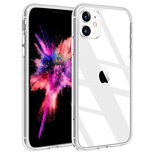 Yisica Transparente Funda para iPhone 11 (6.1 ),Dureza 9H Tapa Trasera de Cristal Templado + Parachoques de TPU Suave,[Anti-amarilleo] con iPhone 11(6.1 ) (01 Transparente)