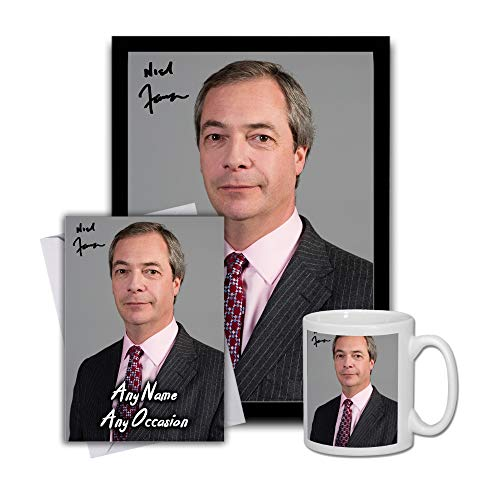 Star Prints UK Nigel Farage 2 Gift Set Bundle 2019 - Large 11cm Mug, A4 Framed Poster and Matching Birthday or Christmas Card (No Personalised Card)