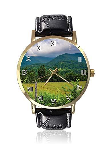 Country Themed Foto von Alten Zaun und Bergen mit dramatischem Himmel, Herren-Armbanduhr, Sport-Uhr für Herren