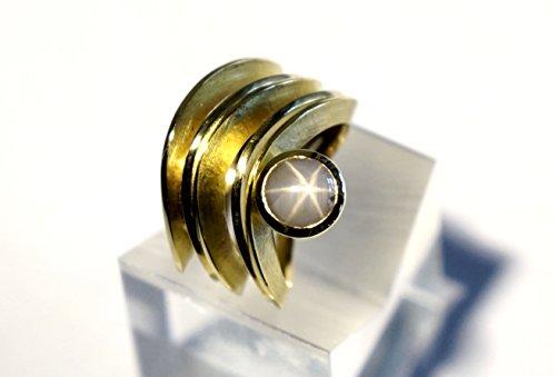 Breiter Sternsaphir-Ring aus 750/oo Gold