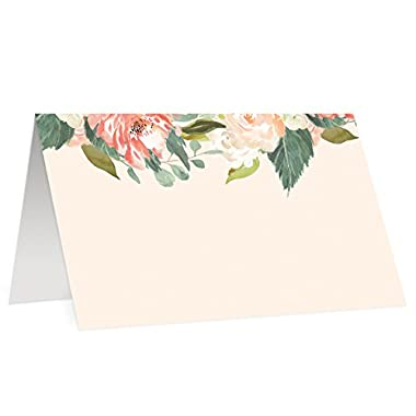 50 Elegant Place Cards Peach Floral Escort Card Set of Fifty Watercolor Wedding Placecard Blank Fill In Guest Name Handwritten Assigned Seating Formal Table Tent Tag Favor Labels 3.5 x 2  Digibuddha