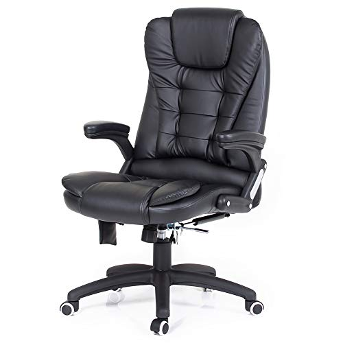 Desk Chair,Black Executive Office Chair with 6 Point Massage Comfy Reclining Office Chair High Back pc Chair Faux Leather Extra Padded Swivel Computer Desk Chair,Home Office Furniture…