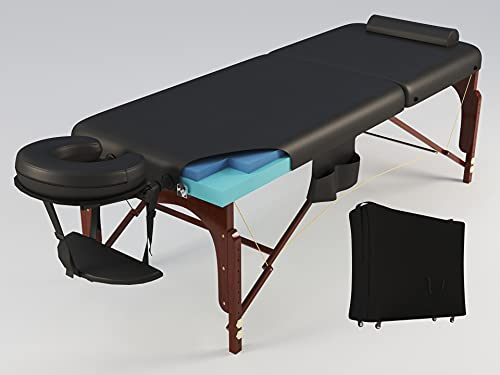 Luxton Home Memory Foam Massage Table with Rolling Carrying Bag, Washable Sheets and More - Thicker and Wider Portable Massage Bed - Professional Ergonomic Folding Spa Bed with Adjustable Height