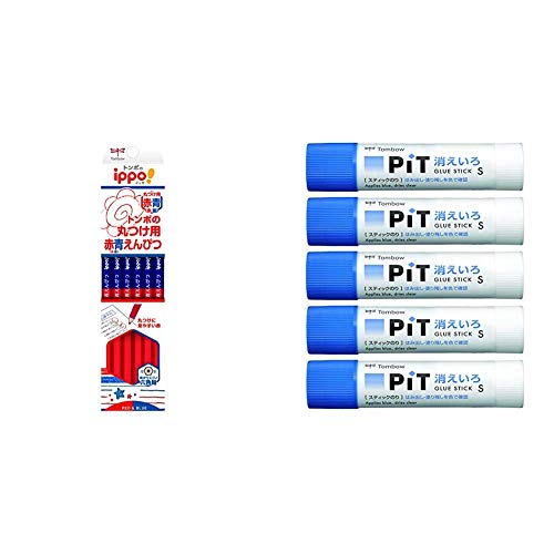 【セット買い】トンボ鉛筆 赤青鉛筆 ippo! 丸つけ用 1ダース CV-KIVP &  スティックのり 消えいろピット S 5個 HCA-513