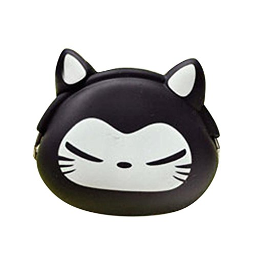 Sunward Female Mini Cartoon Purse Soft Fastener Silicone Coin Bag Case (Black B)