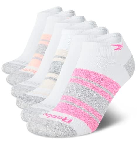Reebok Women's Socks - 6 Pack Athletic Quarter-Crew Socks (Pure White, Shoe Size: 4-10)