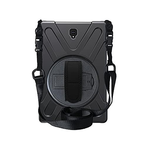 Capa para tablet Samsung Galaxy Tab S4 10.5 SM-T830 T835 com três camadas de silicone resistente + capa de policarbonato à prova de choque, suporte giratório de 360 graus com alça de mão + alça de ombro – preta