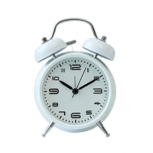 QLKJ wekker, metaal met nachtlampje, mechanisch, modieus, multifunctioneel, nachtlampje, wit