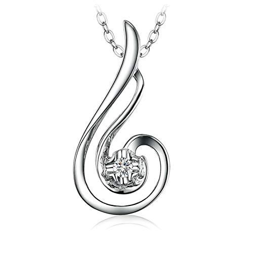 AmDxD 18K White Gold Necklace Chain for Women, Phoenix Diamond Pendant...