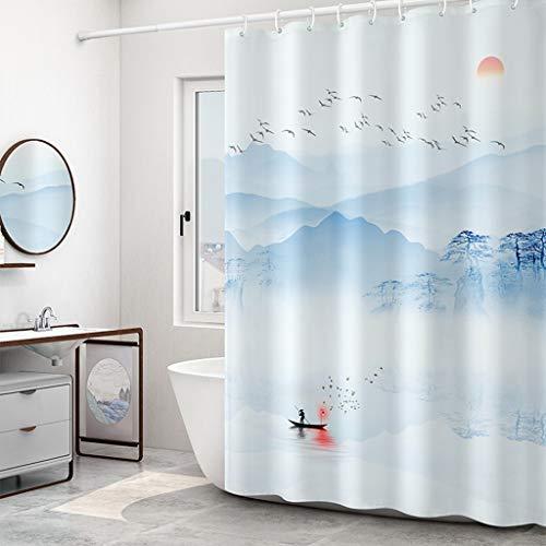 ZHANYI waterdicht douchegordijn, polyester, wanddecoratie voor badkamer, anti-schimmel, met haken, privacybescherming, blauw