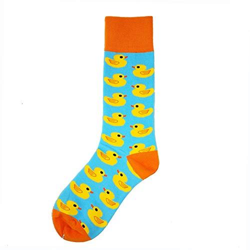 Stylische Herren-Socken mit Cartoon-Motiv, Glückliche gelbe Ente, EUR39-46