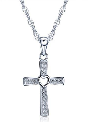 Infinite U - Collana con ciondolo a croce classica con foro centrale a forma di cuore, in argento Sterling 925rodiato, con zirconi cubici, da donna/ragazza, colore: argento