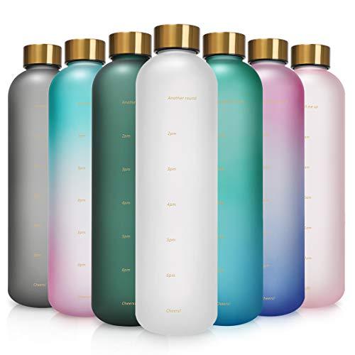 Opard Trinkflasche, 1L Wasserflasche, Auslaufsichere Water Bottle, BPA Frei Sportflasche Zeitmarkierung Wasser Flasche (Weiß)