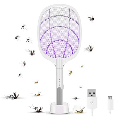 AEU Eléctrico Mosquito Zapper Y Mosca Matamoscas 2 in 1 Plagas Insectos Asesino Repelente USB Recargable, Luz LED UV, Voltaje 3000V, Protección De Malla De 3 Capas, para Terraza, Interior Y Exterior