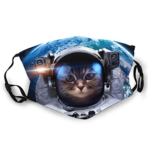 WLYDYS Planet And Cat Art Astronauts Halloween Adult Dual Front Dustproof Protective Masks Face Mask Mouth Mask Mouth Cover Scarf Mask Camping/Outdoor Washable and Reusable Waterproof for Women