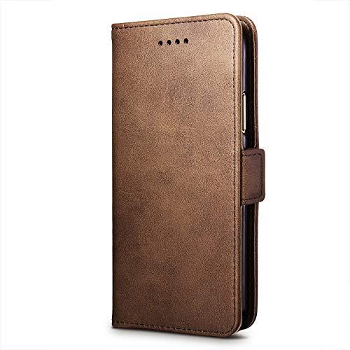 cookaR ZTE Axon 10 Pro 5G Handy Hülle Tasche Flip Hülle Kredit Karten Fach Geldklammer Leder Handy Schutzhülle Unsichtbar Magnet Verschluss Standfunktion,Braun