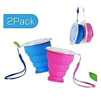 ruesious 2*tazza pieghevole retrattile portabile a livello alimentare senza bpa silicone outdoor tazza per viaggio, campeggio, escursionismo e al lavoro. risparmio spazio. (blu e rossa)