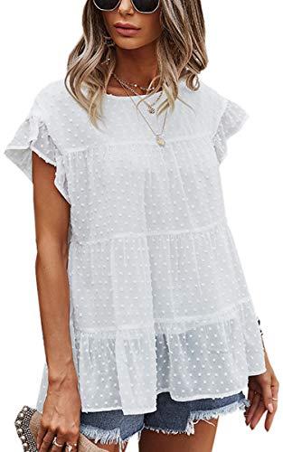 Angashion Women's Tops Casual Swiss Dot Cap Sleeve Ruffle Loose Babydoll Shirt Blouse Tunic Top 2162 White M