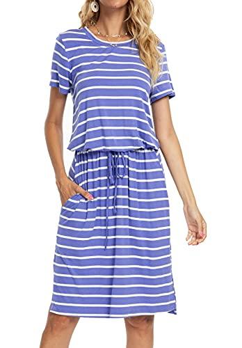 Womens Striped Elastic Waist Casual Tie-Belt Midi Dress with Pockets LightBlue L