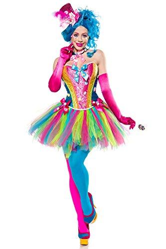 Generique - 80137-066-025 Candy Clown-Kostüm für Damen Bonbons bunt M (38), Mehrfarbig