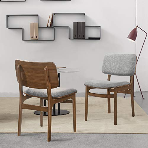 "Armen Living Lima Wood Dining Accent Chairs Finish Fabric-Set of 2, 20"" Wide, Walnut/Grey"
