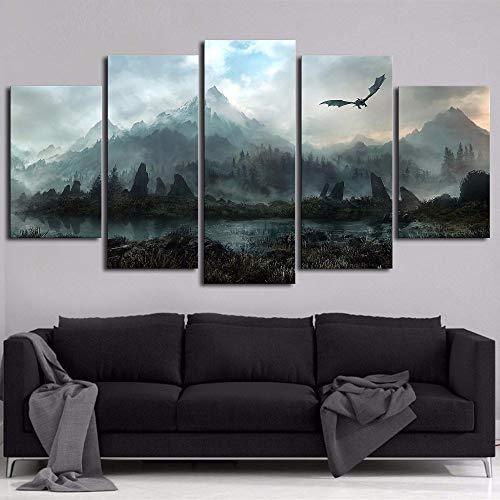 BOYH 5 Panel Impresiones sobre Lienzo Juego De Tronos Dragon Skyrim Pinturas Modular Canvas Poster Decoración del Hogar Arte De La Pared Imagen,A,40X60x240X80X240X100X1