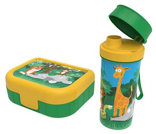 Rotho Memory Kids Set Brotdose mit Trinkflasche , Kunststoff (BPA-frei), grün/gelb mit Motiv