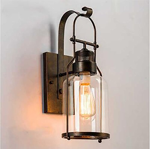 YU-K Wandlampen, minimalistisch, industrieel retro strijkijzer, cafe villalamp, glas, wandlamp, hand, roestkleurig