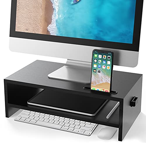 ATUMTEK Monitor Stand Riser with Storage Organizer for Computer Screen Laptop Printer, Desktop Wood 2 Tier Shelf with Cellphone Holder Cable Management - 15.7 Inch, Black