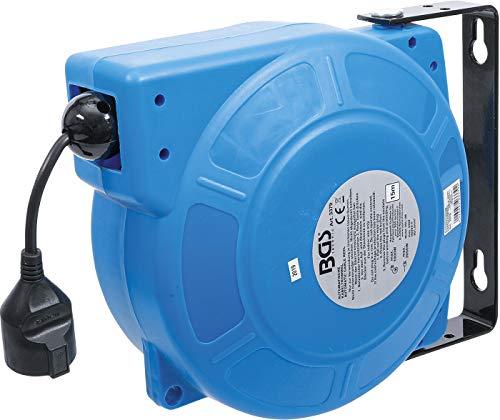 BGS technic BGS 3379 | Automatische Kabeltrommel | 15 m + 1 m Zuleitung | 180° seitlich schwenkbar | inkl. Montagehalter