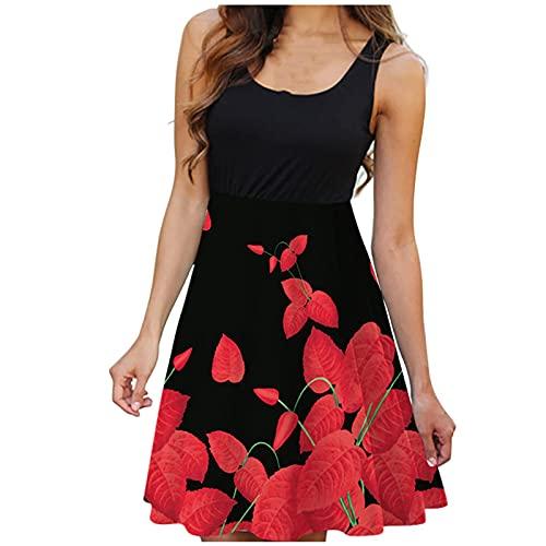StarneA Strandkleid Damen Kurz, Sexy Ärmelloses Minikleid Rundhals Druckkleider Damen Knielang Sommerkleid Tank Kleid Lässiges Urlaub Kleider