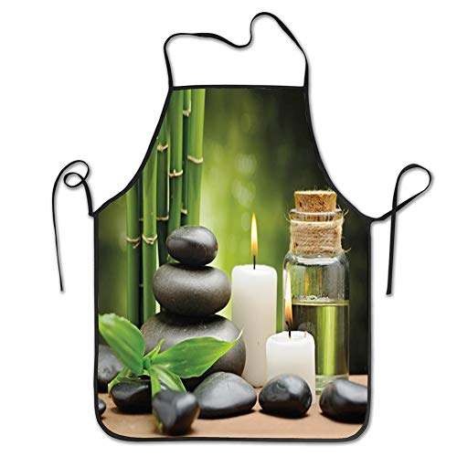Ingpopol Cooking Kitchen Chef Apron Bib Aprons for Women Men,SPA, Hot Massage Rocks Combined with Candles and Scents Landscape of Bamboo Print,Green White and Black