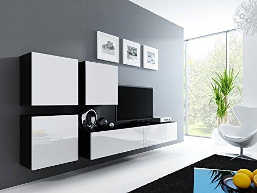 Jadella Wohnwand \' Vigo 23\' Hochglanz Hängeschrank Lowboard Cube, Farbe:Schwarz Weiß