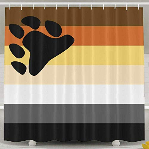 LINGJIE Duschvorhang Gay Pride Bear Flag 60X72 inch Bath Curtain Waterproof Polyester Fabric Bathroom Shower Curtain Decor Set with Hook