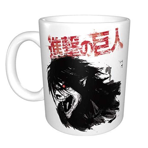 Taza de café de cerámica con diseño de anime Atta (-On-) Titan Eren de la novedad única taza de té de café en casa para la oficina para los amantes del anime Festival Idea de regalo de cumpleaños