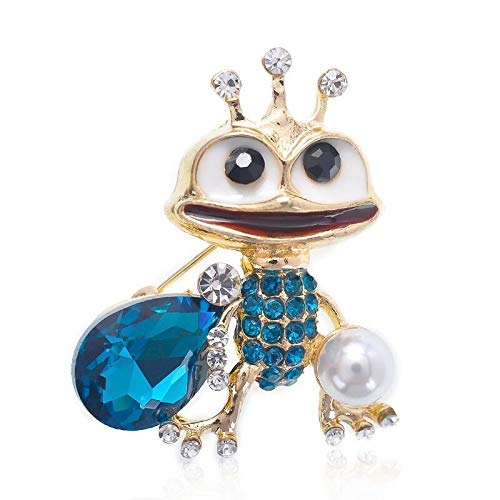 Blue Crystal Frog Brooches Women Alloy Rhinestone Pearl Frog Animal Casual Brooch Pins Gifts-Default