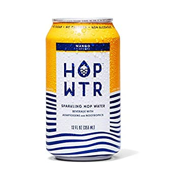 HOP WTR - Sparkling Hop Water - Mango -  12 Pack  - NA Beer No Calories or Sugar Low Carb With Adaptogens and Nootropics for Added Benefits  12 oz Cans