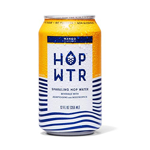 HOP WTR - Sparkling Hop Water - Mango - (12 Pack) - NA Beer, No Calories or Sugar, Low Carb, With Adaptogens and Nootropics for Added Benefits (12 oz Cans)
