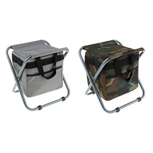 Nobranded 2 Stück Bequemer Klapprucksack Kühler Stuhl Camping Hocker Sitztasche - Grau + Tarnung