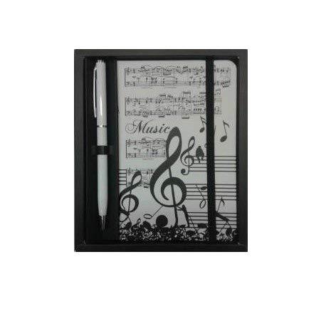 Libreta con boli diseño clave de sol notas musicales