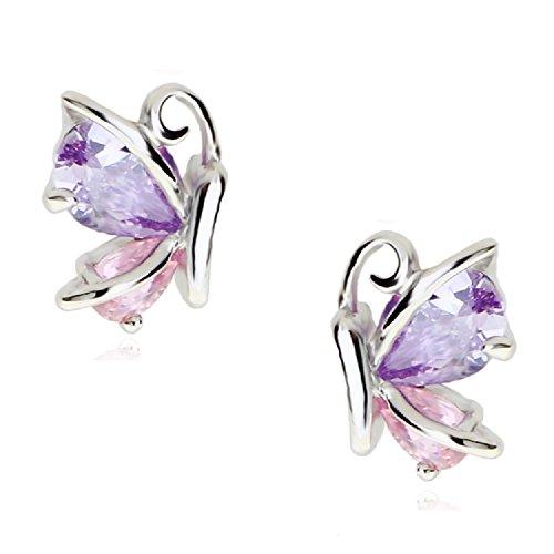 Crystalline Azuria Jewelry - Pendientes de mariposa con cristales de circonio (18 quilates, chapado en oro rosa rosa y morado y blanco, color rosa