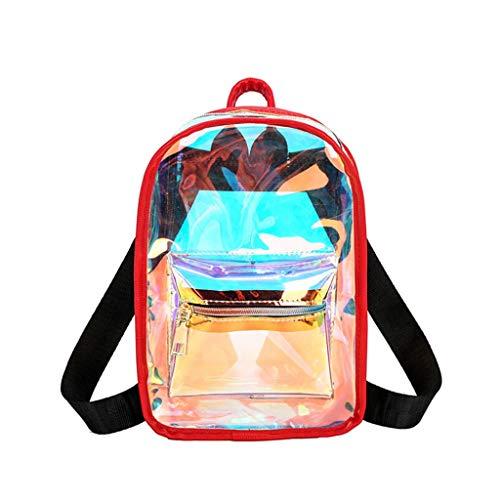 URIBAKY Ligera Y Moderna Mochila Escolar De Ocio - Monedero Escolar para Las NiñAs Lindas Y Los NiñOs Bolsas De Color Caramelo Transparente con LáSer